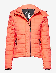 HOODED BOX QUILT FUJI JACKET - quilted jackets - acid coral