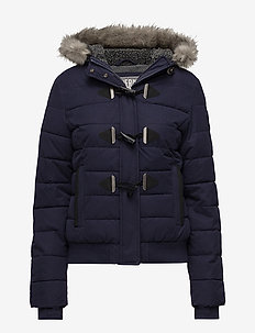 MICROFBRE TOGGLE PUFFLE JACKET - NAVY