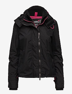 TECH HOODED POP ZIP WNDCHEATER - padded jackets - black/raspberry
