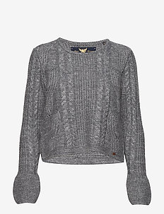 BELL SLEEVE MOHAIR CABLE KNIT - swetry - mid grey marl