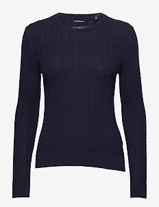 LUXE MINI CABLE KNIT - swetry - rich navy