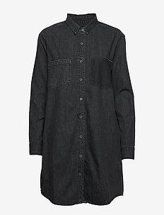 OVERSIZED DENIM SHIRT DRESS - WASHED BLACK