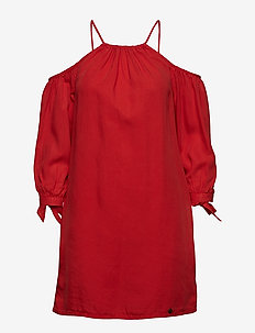 EDEN COLD SHOULDER DRESS - WASHED RED