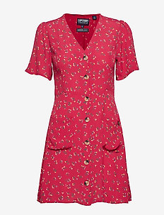 DARCY BUTTON THROUGH DRESS - RED DITSY