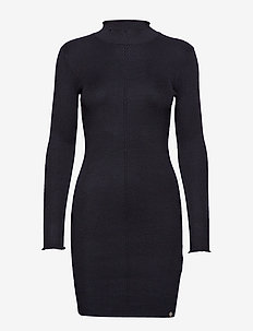LIANA RIBBED KNIT DRESS - sukienki dzianinowe - black