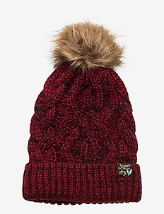 ARIZONA CABLE BEANIE - BURGUNDY TWIST