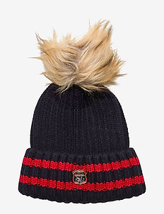 AIMEE STRIPE RIBBED BEANIE - NAVY