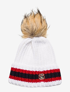 AIMEE STRIPE RIBBED BEANIE - mutsen - rodeo white