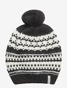 NORDIC PATTERN BOBBLE HAT - BLACK/CREAM