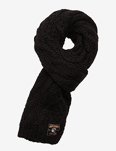 CHIC REGAL CABLE SCARF - BLACK