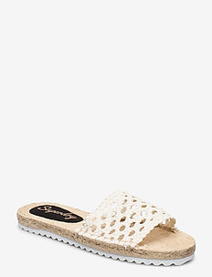 MACRAME ESPADRILLE SLIDE - flat sandals - off white