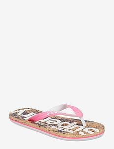 PRINTED CORK FLIP FLOP - flip-flops - fluro pink/dark navy hibiscus