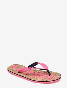 PRINTED CORK FLIP FLOP - flip flops - fluro pink/dark navy