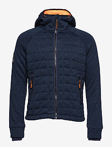STORM QUILTED ZIPHOOD - mid layer-takit - indigo navy marl