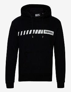 Core Logo Sport Stripe Hood - hupparit - black