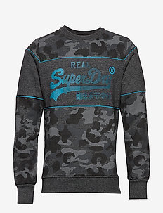 VINTAGE LOGO CAMO PANEL CREW - sweatshirts - black grit