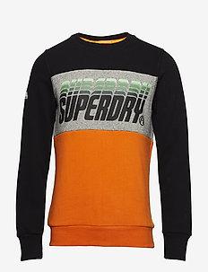 TRIPLE DROP POP PANEL CREW - sweatshirts - blck/phoenixgrygrit/hazrdornge