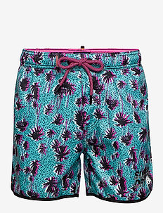 SUPERDRY ECHO RACER SWIM SHORT - TURQ PALM TREE PRINT