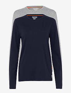 LAUNDRY SLIM FIT LS TEE DOUBLE PACK - LAUNDRY NAVY/LAUNDRY GREY MARL