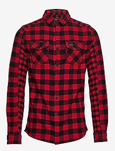 BUFFALO FLANNEL L/S SHIRT - RED CHECK