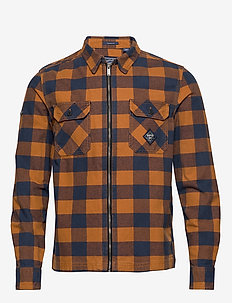 WORKWEAR L/S ZIP THROUGH - overshirts - yellow check