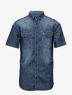 BIKER SLIM SHIRT S/S - denimowe koszulki - side winder vintage