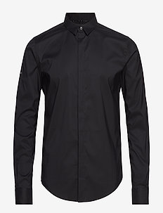 COTTON DRESS L/S SHIRT - BLACK