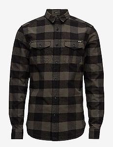 ROOKIE PLAID L/S SHIRT - rutede skjorter - olive plaid