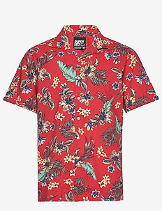 HAWAIIAN BOX S/S SHIRT - kurzarmhemden - vintage tropical red
