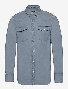 RESURRECTION L/S SHIRT - basic skjortor - mid blue wash