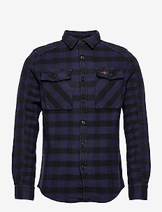 Buffalo Flannel Shirt - avslappede skjorter - blue check