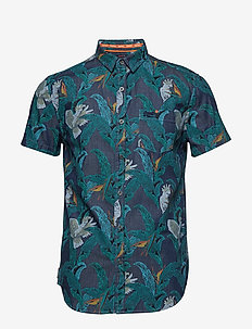 MIAMI LOOM SHIRT - lyhythihaiset paidat - tropical bird indigo