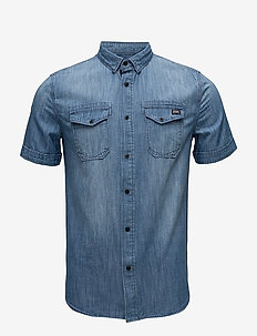 DRAGWAY S/S DENIM SHIRT - denimowe koszulki - mid vintage