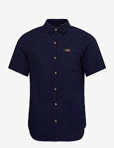 S/S WORKWEAR SHIRT - overhemden korte mouwen - ticking stripe rinsed