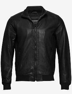 LIGHTWEIGHT LEATHER TRACK JKT - lederjacken - black