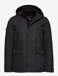 GYTON HOODED WOOL COAT - villakangastakit - charcoal
