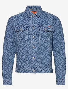 HIGHWAYMAN LOGO TRUCKER - spijkerjassen - creechton mid blue aop