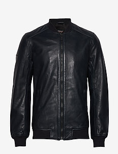 Leather Light Bomber - lederjacken - dark navy