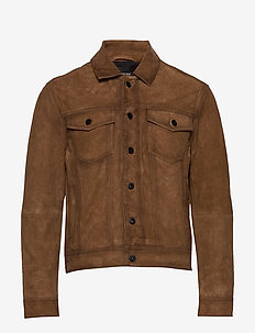 Suede Highwayman Trucker - lederjacken - burnt brown