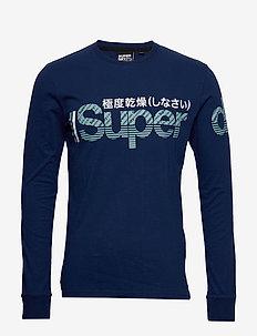 CORE SPLIT LOGO LS TEE - langermede t-skjorter - pilot mid blue