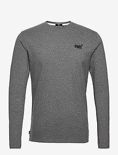 OL VINTAGE EMB LS TOP - basic t-shirts - dark marl