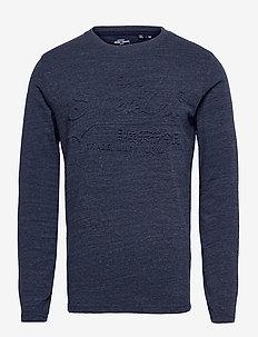 VL EMBOSS LS TOP - basic t-shirts - navy marl