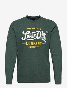 SCRIPT STYLE COL L/S TOP - långärmade t-shirts - buck green marl