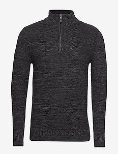 KEYSTONE HENLEY - half zip jumpers - lead grey twist