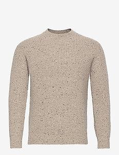 Tweed Rib Crew - basic strik - oatmeal tweed