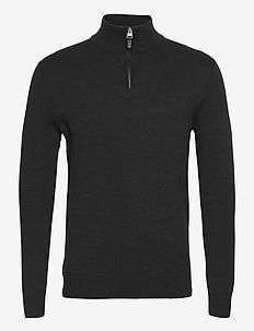 COTTON KNIT HENLEY - half zip-tröjor - black