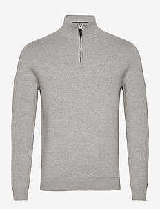 COTTON KNIT HENLEY - half zip-trøjer - light grey marl