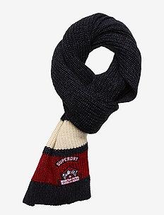 SKI DOG SCARF - huivit - navy black twist/off white/red