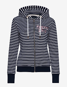 APPLIQUE SERIF ZIPHOOD UB - NAVY STRIPE