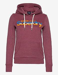 CL VINTAGE STRIPE HOOD - hoodies - creek red marl